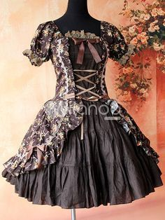 elegant gothic lolita green brown floral - Google Search