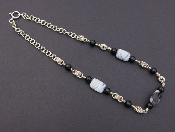 Black Onyx, Montana Agate & Sterling Silver Chain Maille Necklace