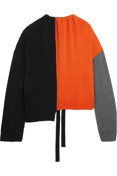 Marni - Oversized Color-block Wool Sweater - Orange - IT36