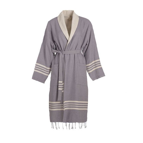 Turkish Bathrobe,Dark Grey,  high-quality, 100% natural Turkish cotton with Raw Terry Layer inside and with fringe.