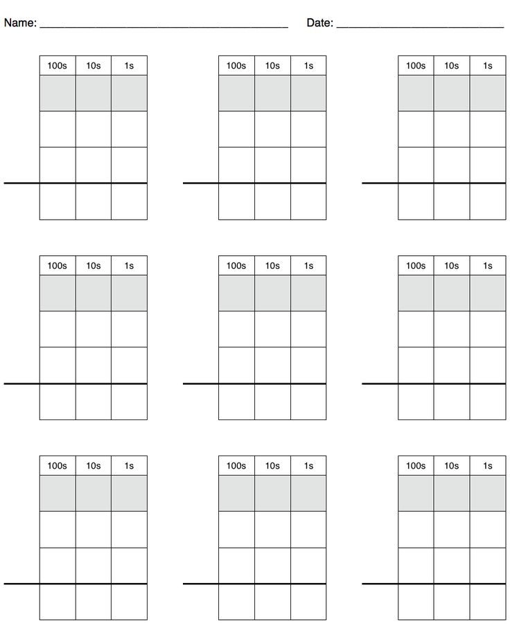 Math Practice Grid Paper for Carrying, Borrowing and