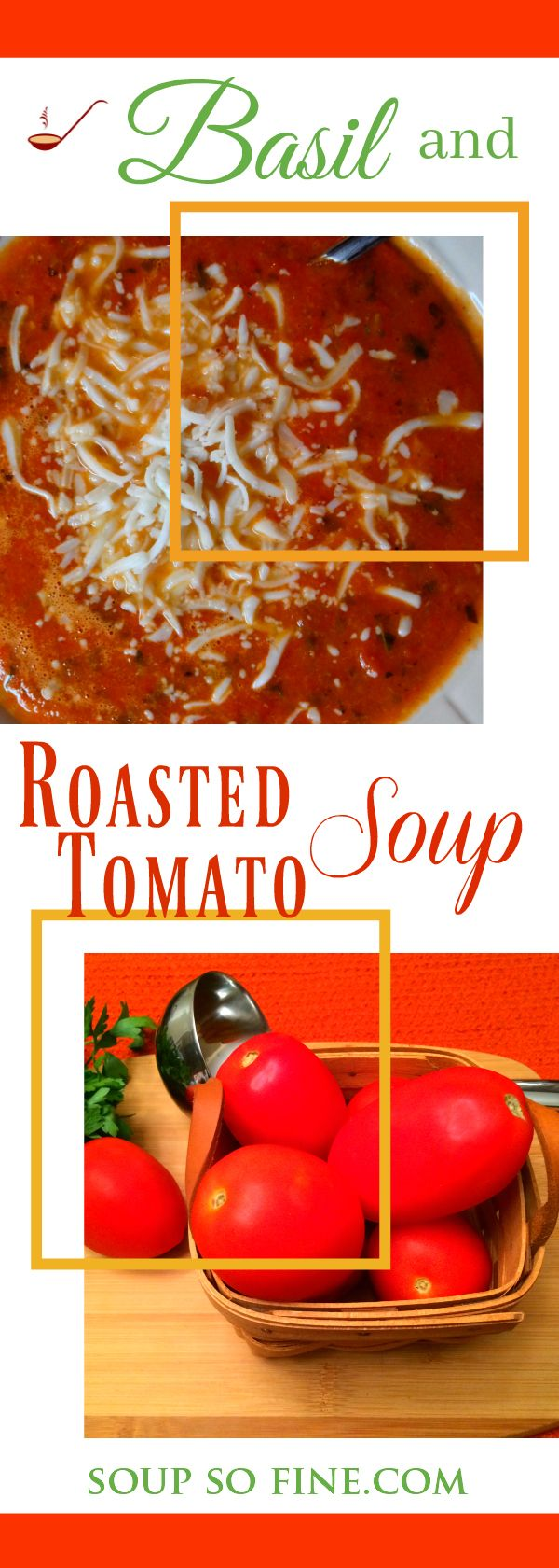This wonderful soup features a flavorful combination of roasted tomatoes and fresh basil. Minced garlic and red pepper flakes are sautéed in butterthen blended with the roasted tomatoes, onions...  Perfect for a chilly autumn day! | #homemadesouprecipes #vegetablesouprecipes #soups | SoupSoFine.com