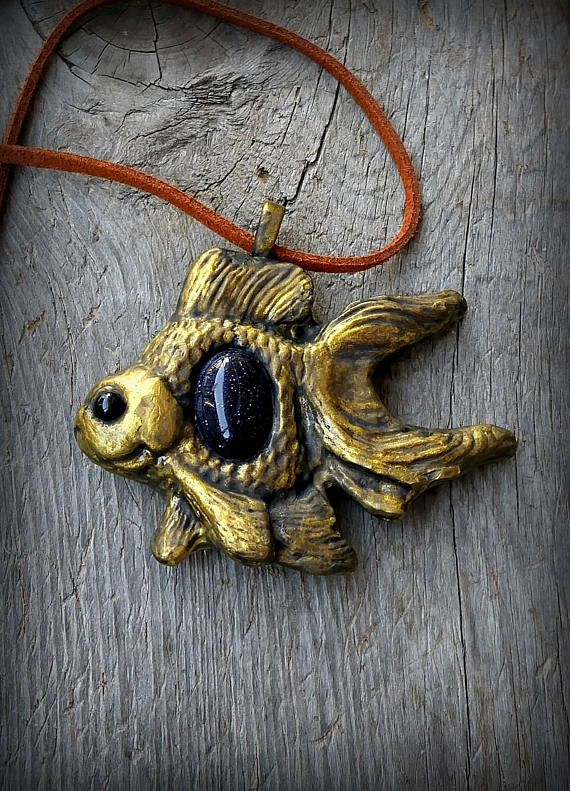 Goldfish Steampunk Necklace in Midnight Blue Goldstone and Onyx Crystals Polymer Clay Pendant Hippie Jewelry Boho Style Gemstone Necklace