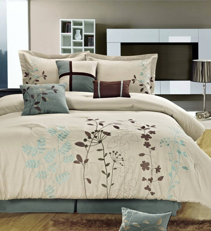 With Love Home Decor   12pc B. Gar Ivory/Blue Luxury Bed In