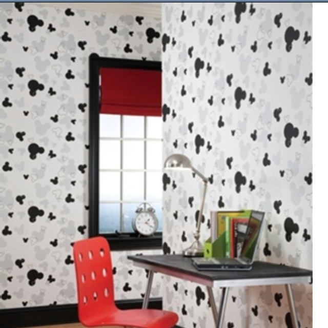 disney wallpaper for bedrooms. Disney WallPaper for Nursery and Kids Rooms  Mickey Mouse Head Silhouettes on a White Background 59 best Cool Decorating Ideas Teens images Pinterest