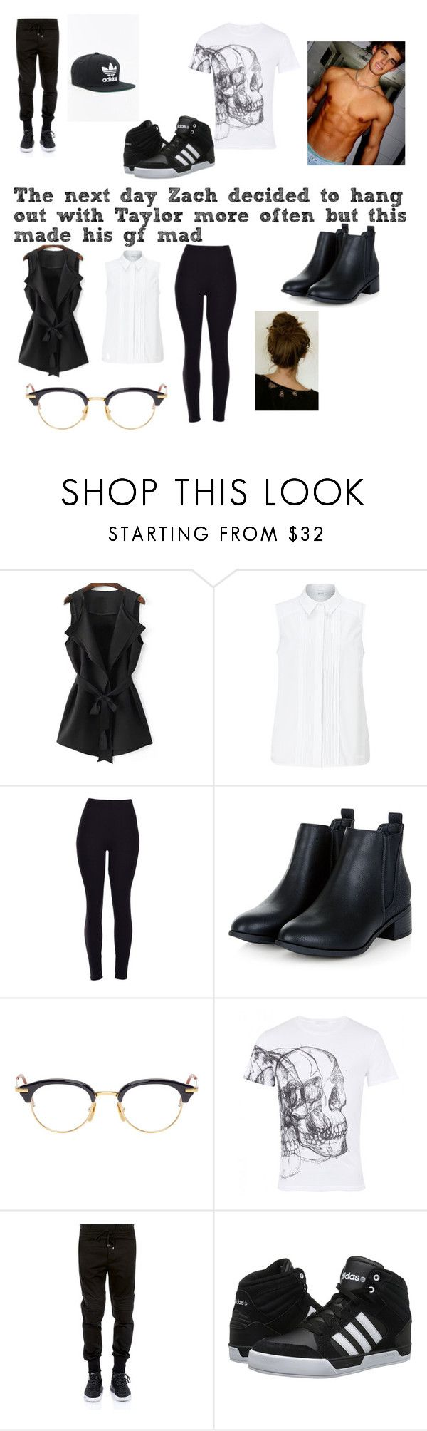 """He was helping her out by passing out her student body president pins"" by maryjsullivan ❤ liked on Polyvore featuring John Lewis, Thom Browne, Alexander McQueen, Dolce&Gabbana and adidas"