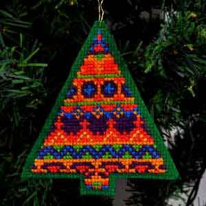 Fair Isle, Cross Stitch Christmas Tree Ornament