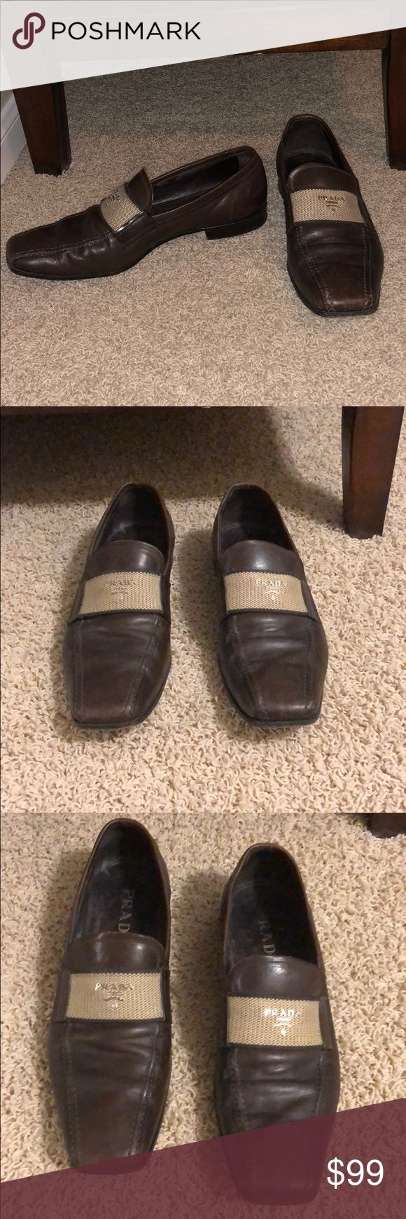 Prada men's brown loafers size 9 Good condition. Prada Shoes Loafers & Slip-Ons