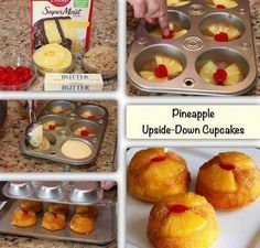 Individual Pineapple Upside-down Cakes.