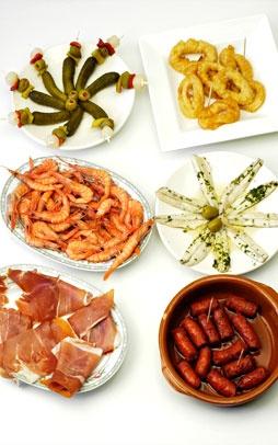 Tapas from Spain :), banderillas, calamar, gambas, boquerones, jamón and chorizos.