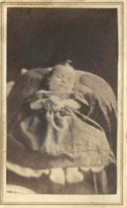 Post mortem baby photo from the Civil War era (1860′s). Photographer is J.V. Parker from Utica, NY.