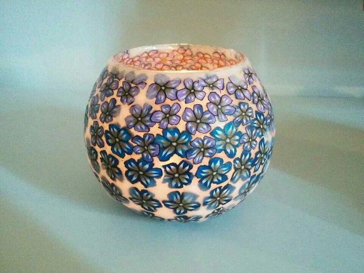 Porta candele polymer clay maninpastabybeba