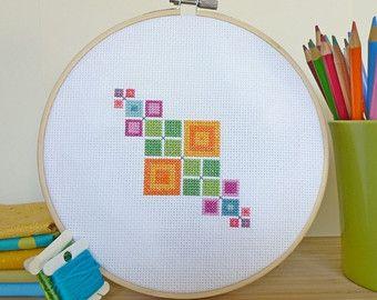 Seafoam Squares Modern Cross Stitch Pattern by ModernStitchTherapy