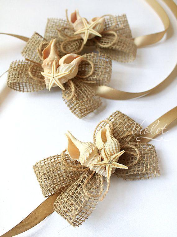Starfish Nautical Wedding Corsages Set of 4, Handmade Rustic Burlap Bridesmaid Bracelets, Beach Sea Wedding Bridal Girl Corsage Accessories
