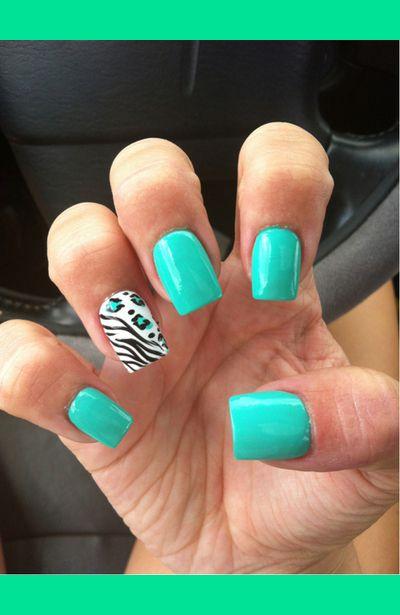 aqua and animal print nails!