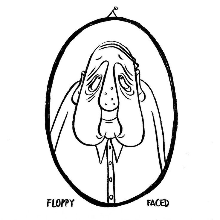 DAY 6 of Karo Rigaud's 2016 illustrated Advent Calendar: Floppy Faced. #illustration #drawingoftheday #drawing #comic #portrait #abc #abecedaire #blackandwhite #characterdesign #character #fun