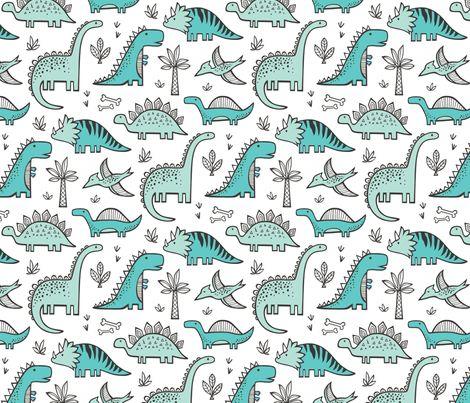 Dinosaurs fabric by caja_design on Spoonflower - custom fabric