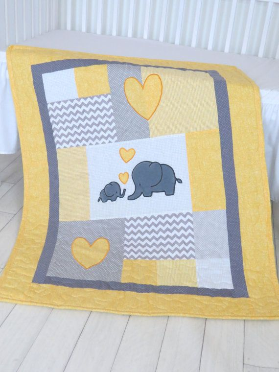 Twin Baby Quilts Elephant Crib Bedding by Customquiltsbyeva