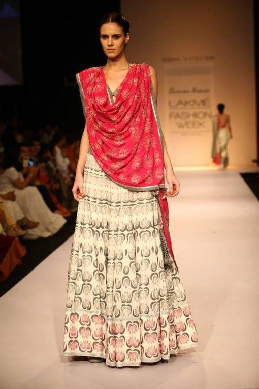 Lakme Winter 2013 Shravan Kumar pink and grey lehnga #lehenga #choli #indian #shaadi #bridal #fashion #style #desi #designer #blouse #wedding #gorgeous #beautiful