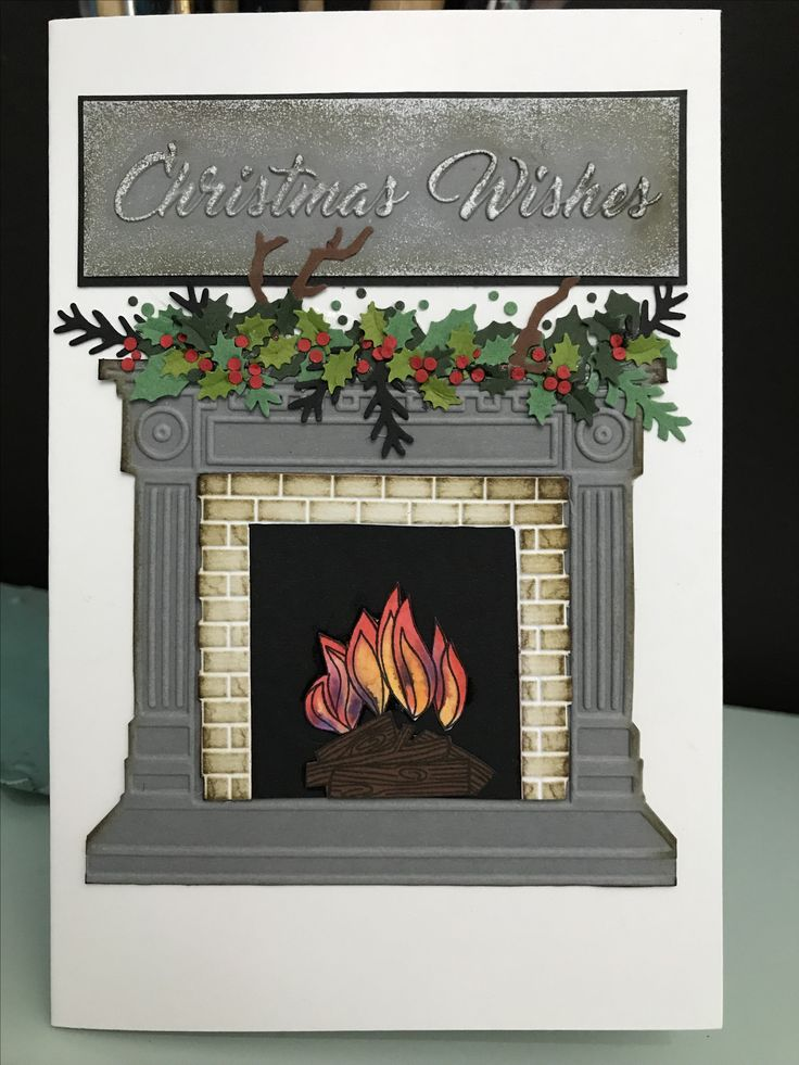 Christmas card. Warm fire place and holly