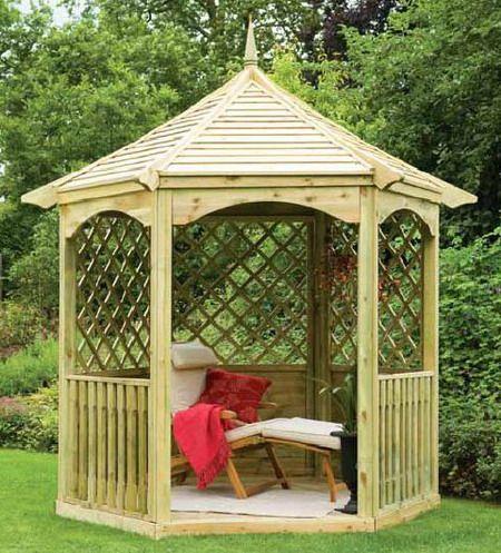 Small wood garden gazebo ideas.  i want one of these at the bottom of the garden. -Garden Gazebo Ideas-