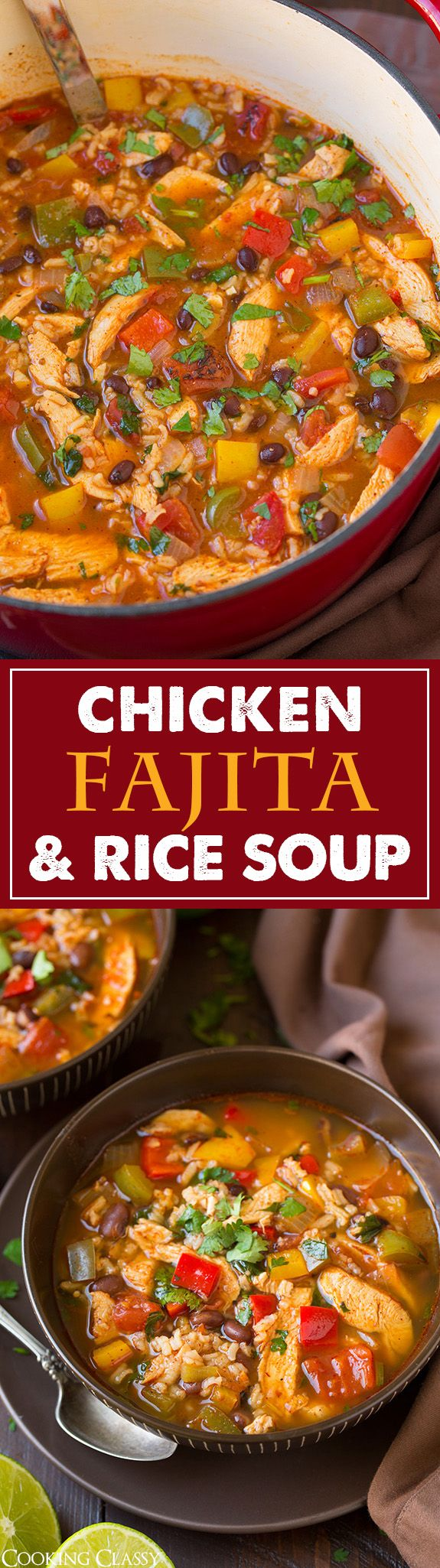 Chicken Fajita and Rice Soup - This soup tastes just like chicken fajitas but in soup form! It's so flavorful and totally filling. Just wait to add the rice if you don't plan on eating it all right away.