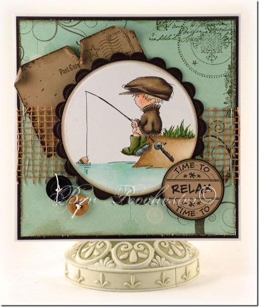 Скрап открытки рыбаку