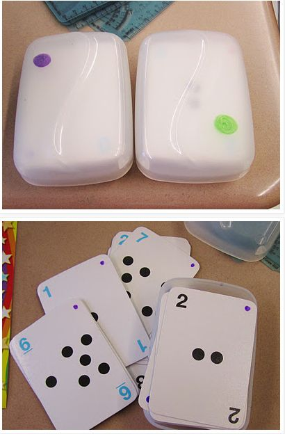 Use soap containers to keep flash cards and playing cards together. | 29 Clever Organization Hacks For Elementary School Teachers