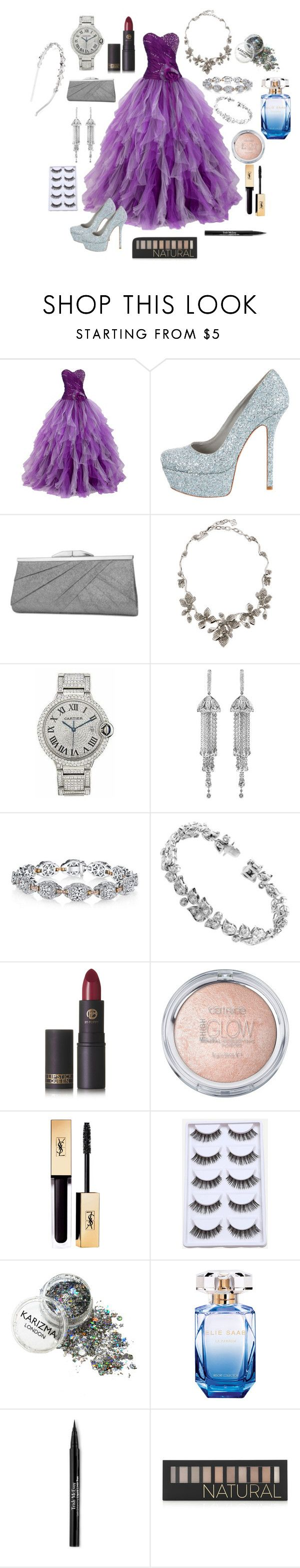 """Prom in high school"" by shaynae ❤ liked on Polyvore featuring Alice + Olivia, Jessica McClintock, Oscar de la Renta, Cartier, Shay, Harry Kotlar, Lipstick Queen, Elie Saab, Trish McEvoy and Forever 21"