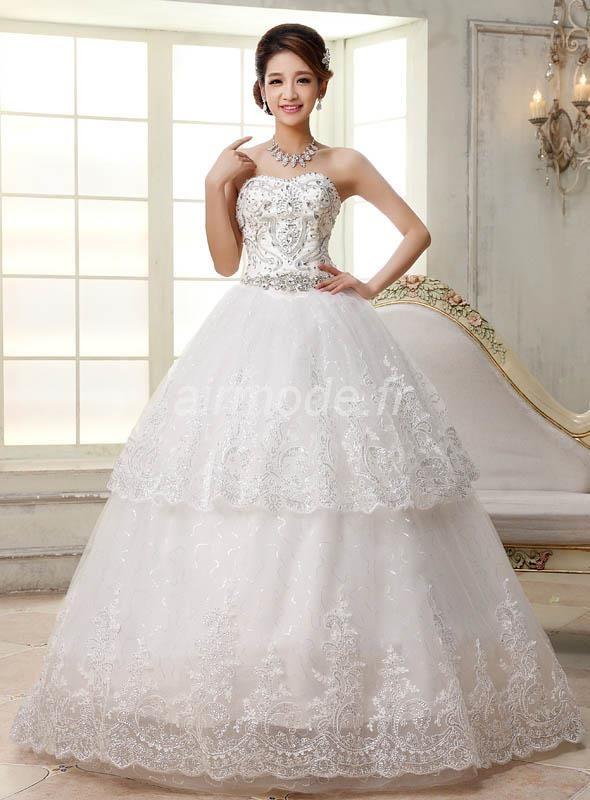 fournitures de airmode.frjardin extérieur dentelle longue robe sans manches et la robe de mariée de ma taille de perles Robe de Mariée Grande Taille
