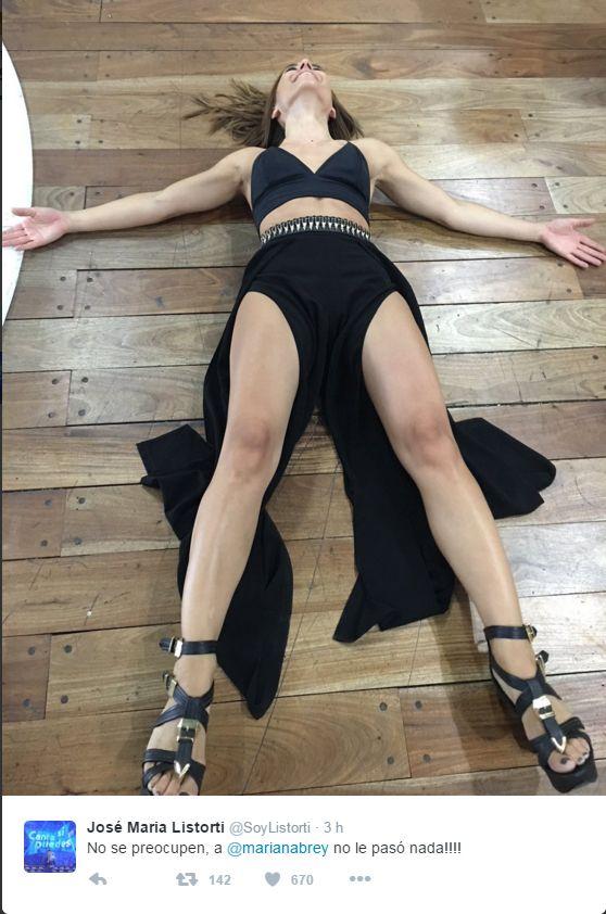 La foto de lo que no se vio en la televisión del terrible porrazo en vivo de Mariana Brey   El Trece