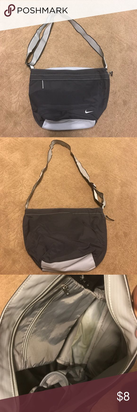 Nike  mesh Bag Gently used Nike Shoulder Bag. Has  a zipper that expands the bag. Also has front pocket for storage as well. Can be worn as crossbody or on the shoulder (mesh bag) Nike Bags Crossbody Bags