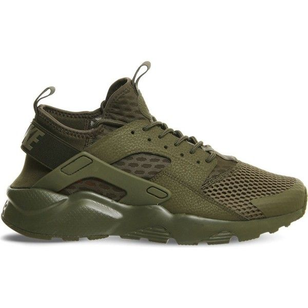 NIKE Air huarache run ultra trainers (£110) ❤ liked on Polyvore featuring shoes, sneakers, medium olive breathe, lace up sneakers, olive shoes, laced shoes, neoprene shoes and nike sneakers