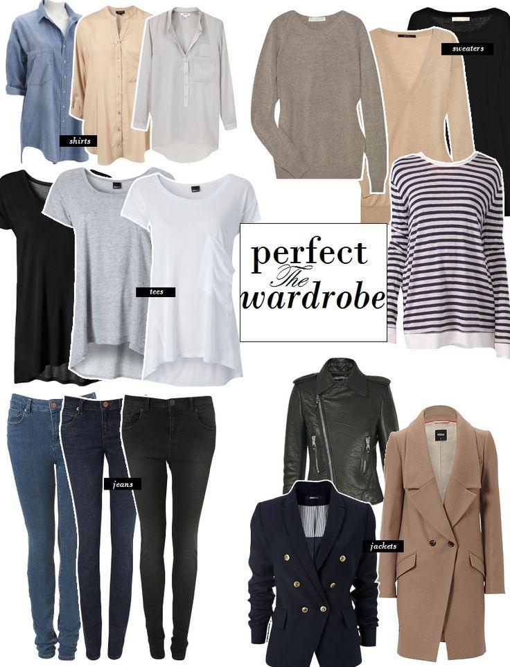 5 piece French wardrobe Een basisgarderobe zou er zo uit kunnen zien: - Effen wit en zwart T-shirt - Huidkleurig, wit en zwarte hemdjes - Witte blouse - Zwarte blazer - Zwarte cardigan - Zwarte legging - Zwarte jeans - Donkere jeans - LBD - Simpele Ballerina's - Pumps die matchen met alles - Zwarte enkellaarsjes. - Alledaagse tas