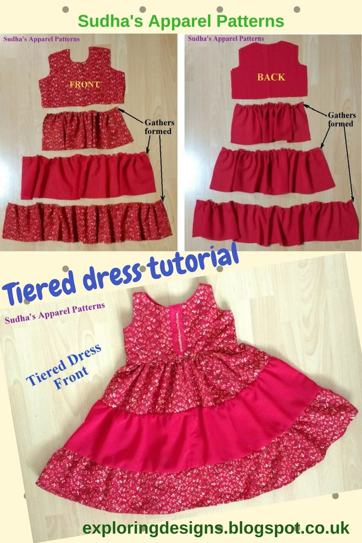 The Tiered Dress Tutorial. I have made this dress for a 3 year old. I have used a combinations of embroidered and plain Georgette fabric for making this tiered dress. You can use striped, checkered, plain fabrics or their combinations to make this tiered dress.