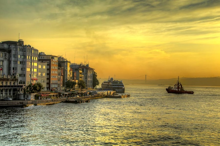 Sunrise over the Bosphorus and Golden Horn, Istanbul, Turkey by Michael Morris