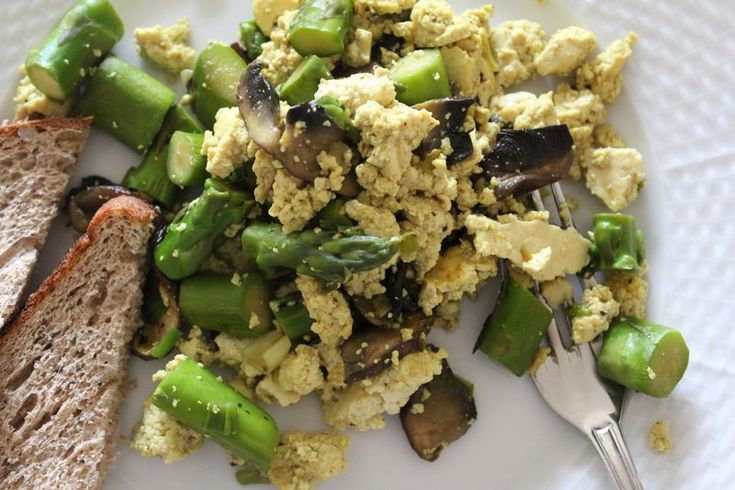 Mushroom, Asparagus And Swiss Scramble Recipe — Dishmaps