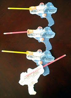 Laser tag birthday party invites using glow sticks