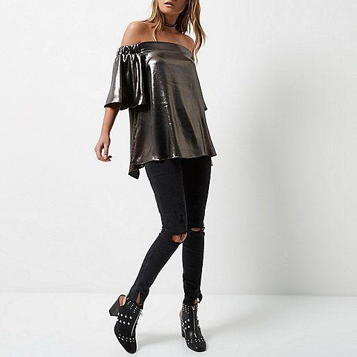 Silver metallic bardot top - bardot / cold shoulder tops - tops - women