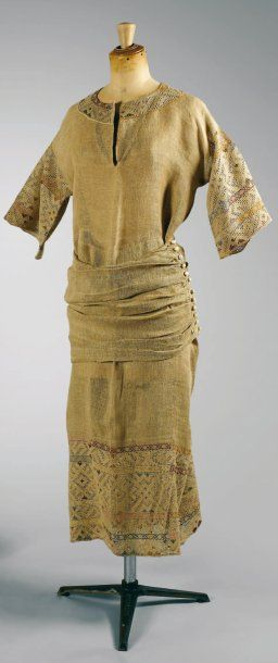 Paul Poiret, circa 1912   SUMMER DRESS made in a woven linen