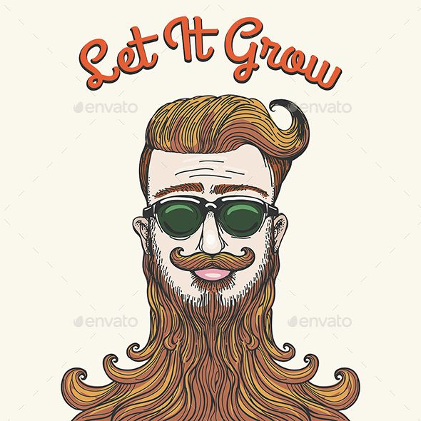 Hipster with huge beard and wording Let It Grow. Humorous Sketch style illustration. Zip file: Editable AI 10, EPS 10 and high res