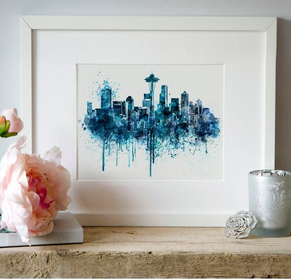 Seattle Skyline monochrome blue watercolor painting by Artsyndrome