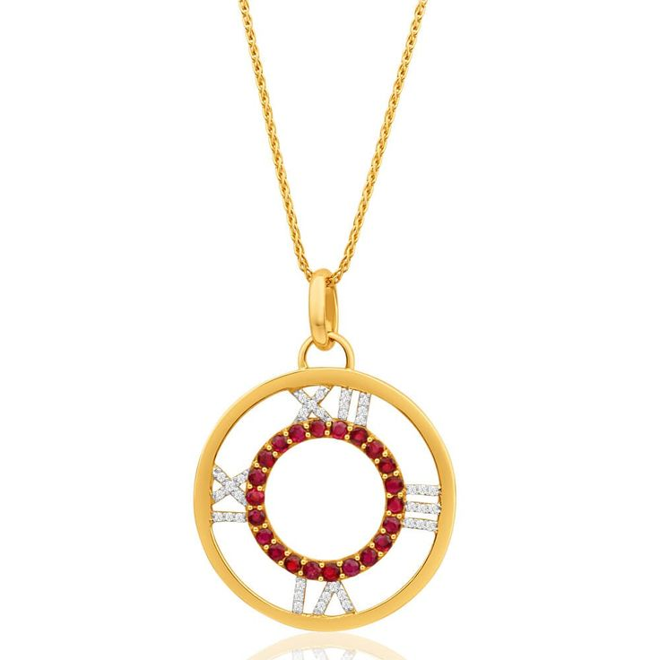 Cute Roman numeral design pendant with Natural Ruby and Diamonds in 9ct Yellow Gold. Perfect fun accessory for spring