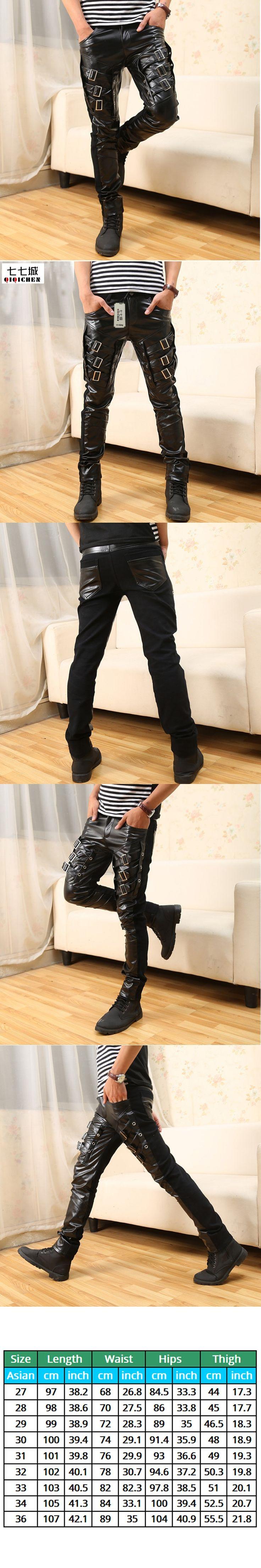 Man Leather Pants New Arrival Mens Korean Gothic Punk Fashion Faux Leather Pants PU Buckles Hip Hop Black Leather Trousers Male