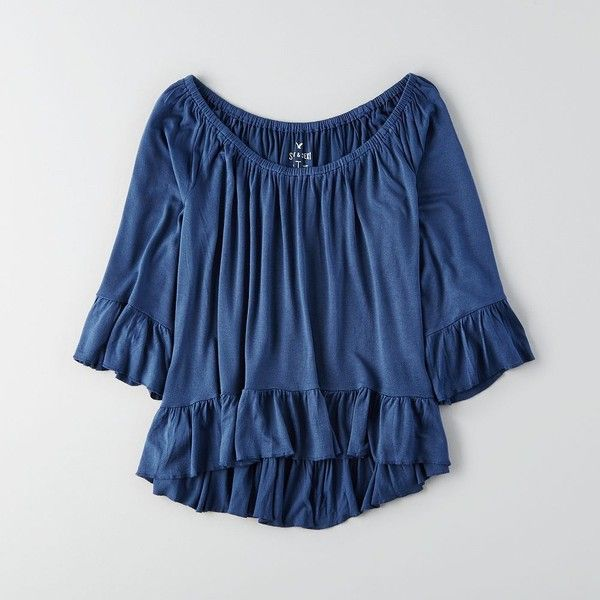 AEO Soft & Sexy Ruffle T-Shirt ($30) ❤ liked on Polyvore featuring tops, american eagle outfitters, flounce tops, blue top, frill top and sexy tops