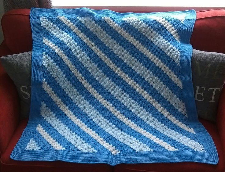 A C2C blanket edged with hdc