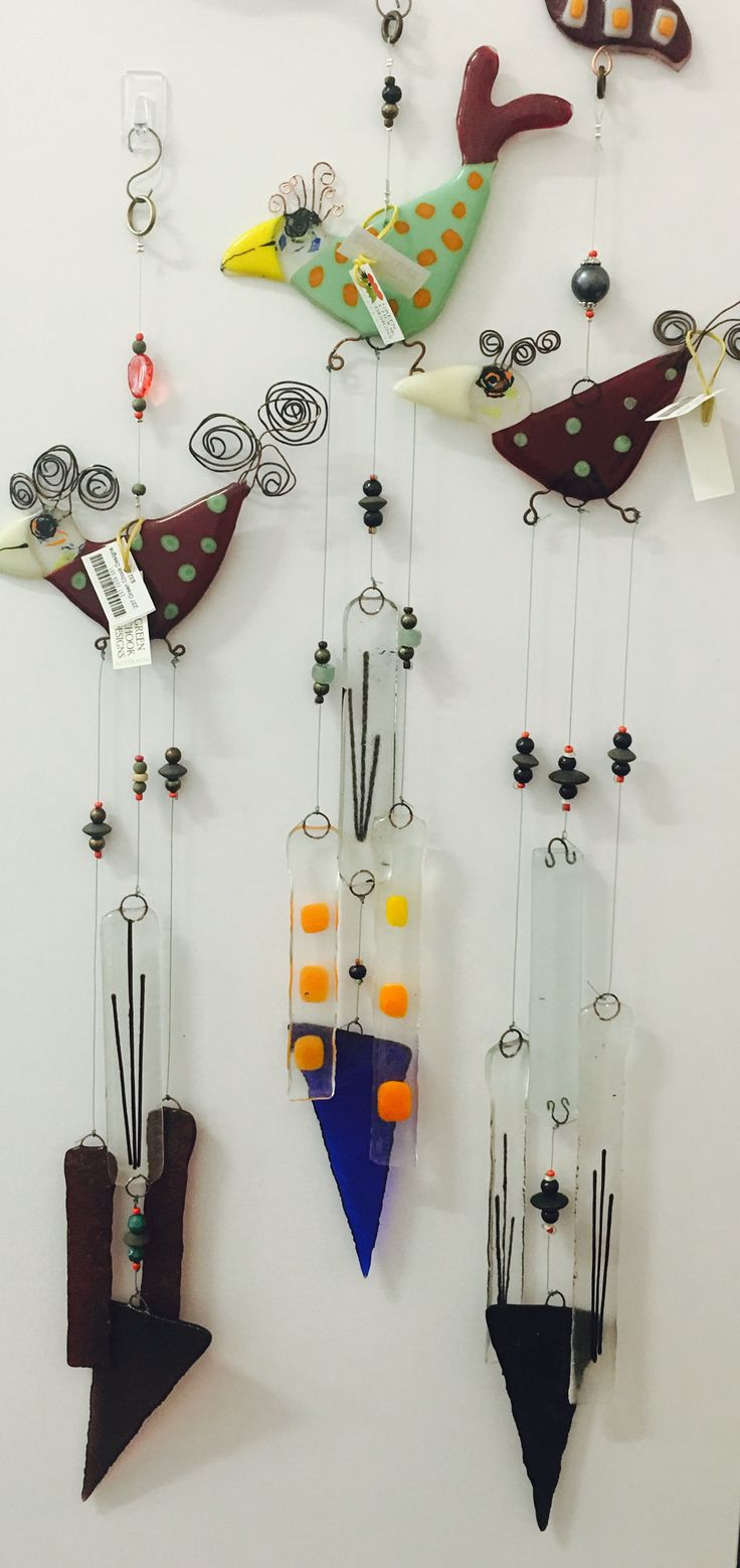 The Artisan Store Fremantle  Green Chook Designs Fused glass wind chimes