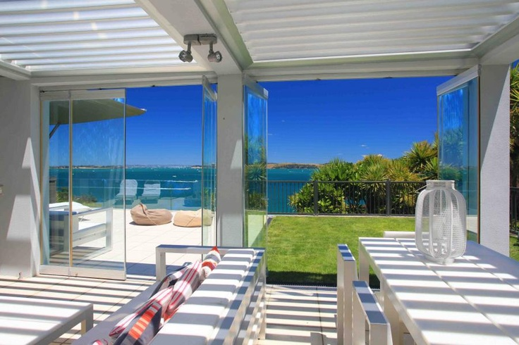 Flow to grass or paved patio either way the view is stunning! Waiheke Island, NZ