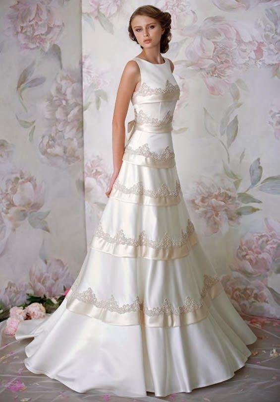 A Line Hign Neckline Satin Papilio Wedding Dress