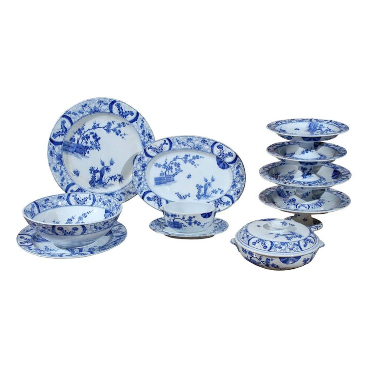 85-Piece Blue and White Japonisme Porcelain Dinnerware Designed by Claude Monet  sc 1 st  Pinterest & 167 best Dinnerware Designs images by Beth Wright Designs on ...